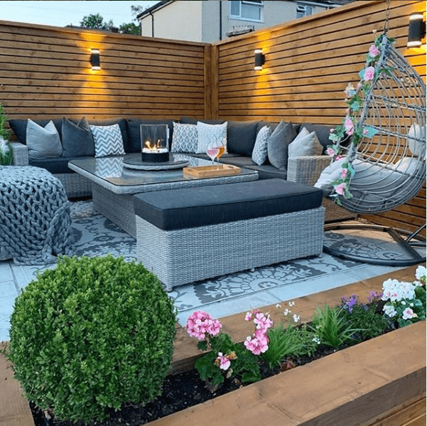 patio area's with rattan swing seat and corner sofa